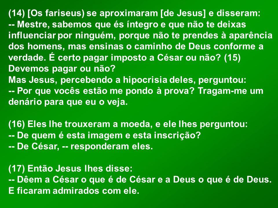(14) [Os fariseus) se aproximaram [de Jesus] e disseram:
